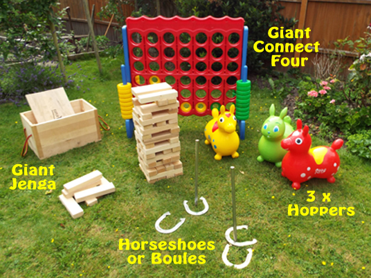 Barbeque games hire special price family party Mega 4 jenga giant