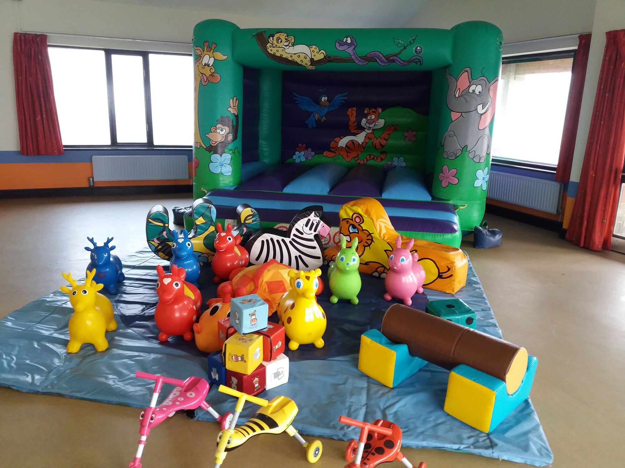 Jungle bouncy castle for hire at Norman Rodaway hall in Hedge End