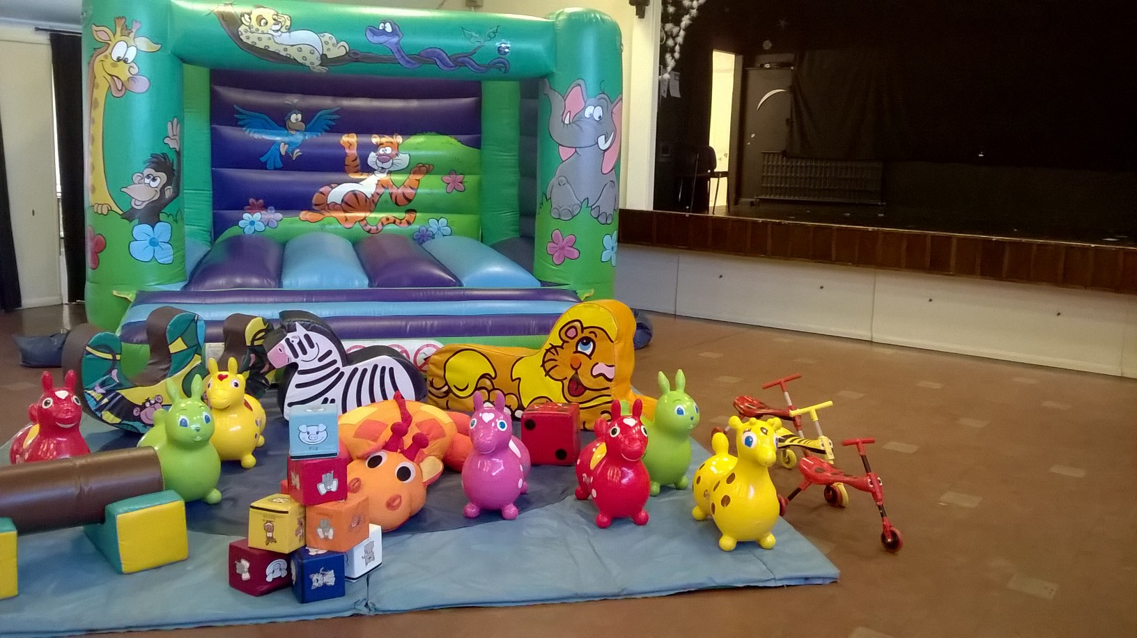 Jungle Bouncy Castle and soft play for hire at Hedge End SOcial club birthday party