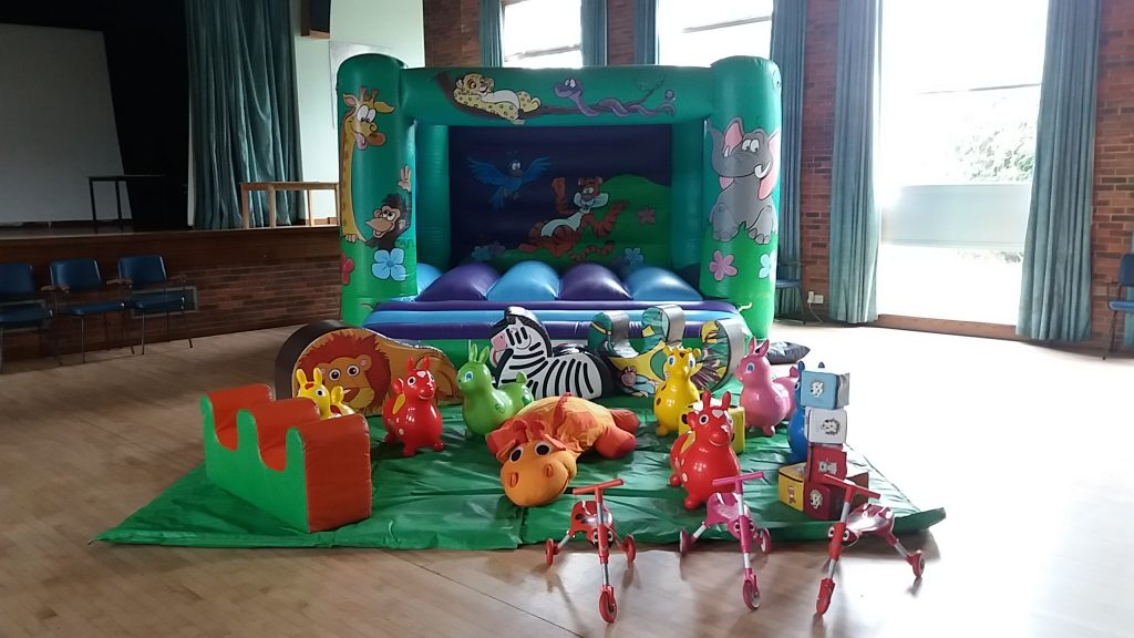 jungle design bouncy castle with soft play for preschool - birthday party at Peartree Hall