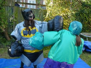Her Sumo Suit Hire for Adults Hulk and Batman Southampton Party Equipment