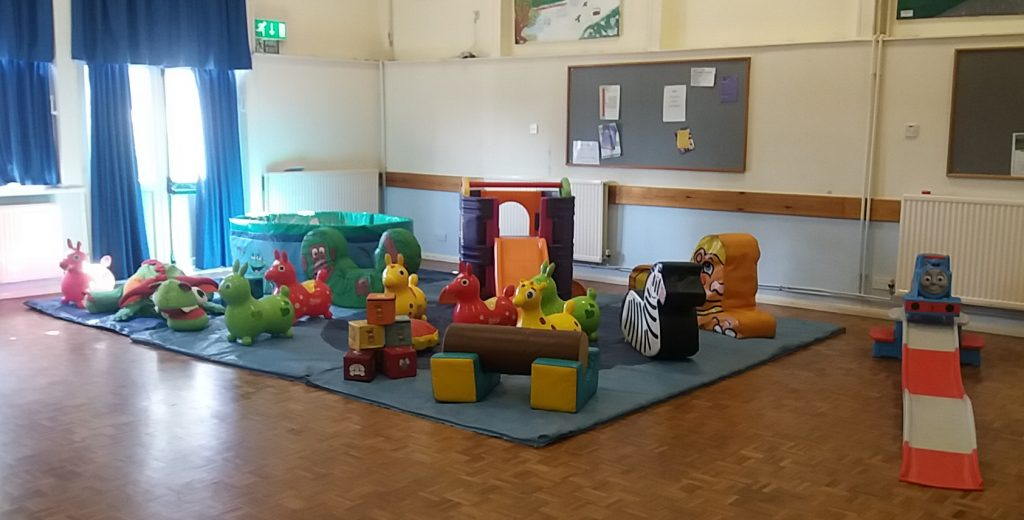 soft play with THomas the Tank roller coaster for hire at childs christening celebration Swanmore