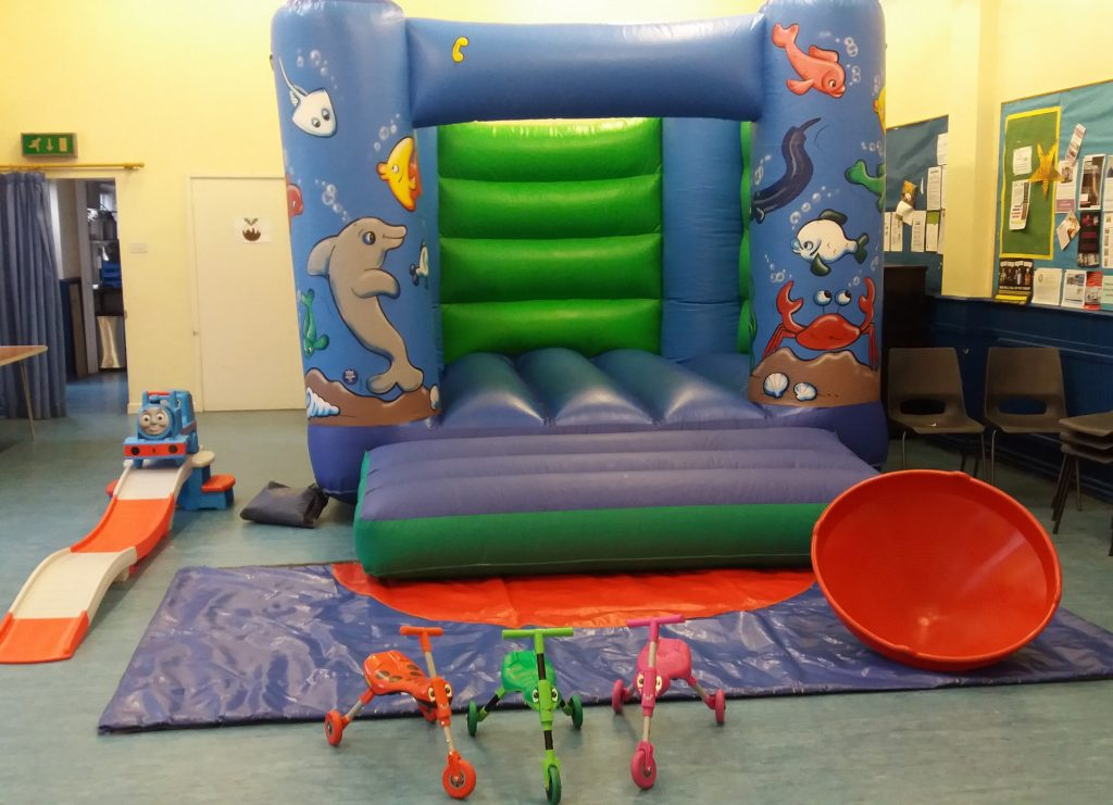 Sealife Bouncy Caslte with Scuttlebugs, Thomas the Tank Roller Coaster and Spinning Top Shirley Parish Hall Southampton Party hire
