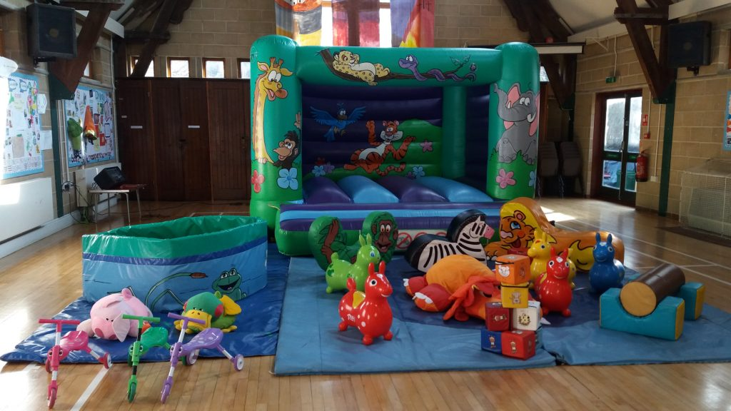 Jungle bouncy castle hire with soft play and ballpit in St Denys Church Centre, Southampton