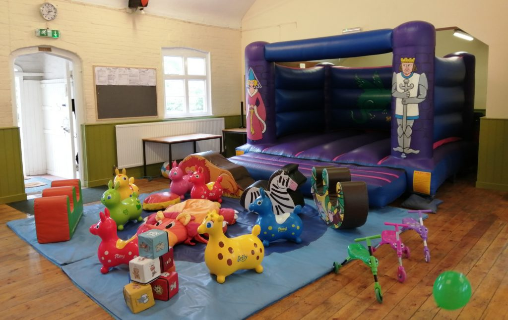 bouncy castle with soft play for 3rd birthday pirate party at Plaitford