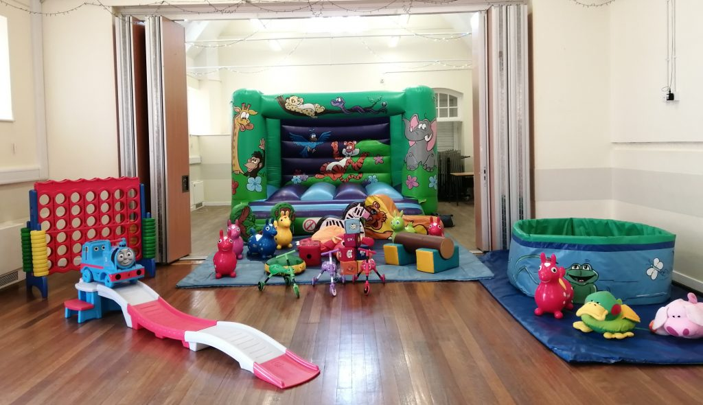 Jungle design bouncy castle on hire at Woolston Community centre, Southampton