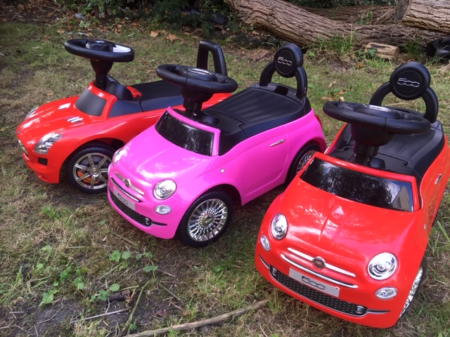 Set of 3 Ride on Cars - Fiat 500 Mercedes Benz Foot to Floor Birthday Party hire