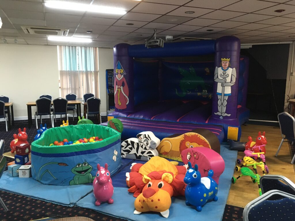 Bouncy castle, soft play and ballpool at birthday party, Bitterne British Legion Club