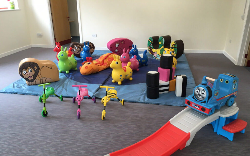 Soft play and Thomas the tank Roller coaster at Fryern Pavilion for 2 year old Birthday party