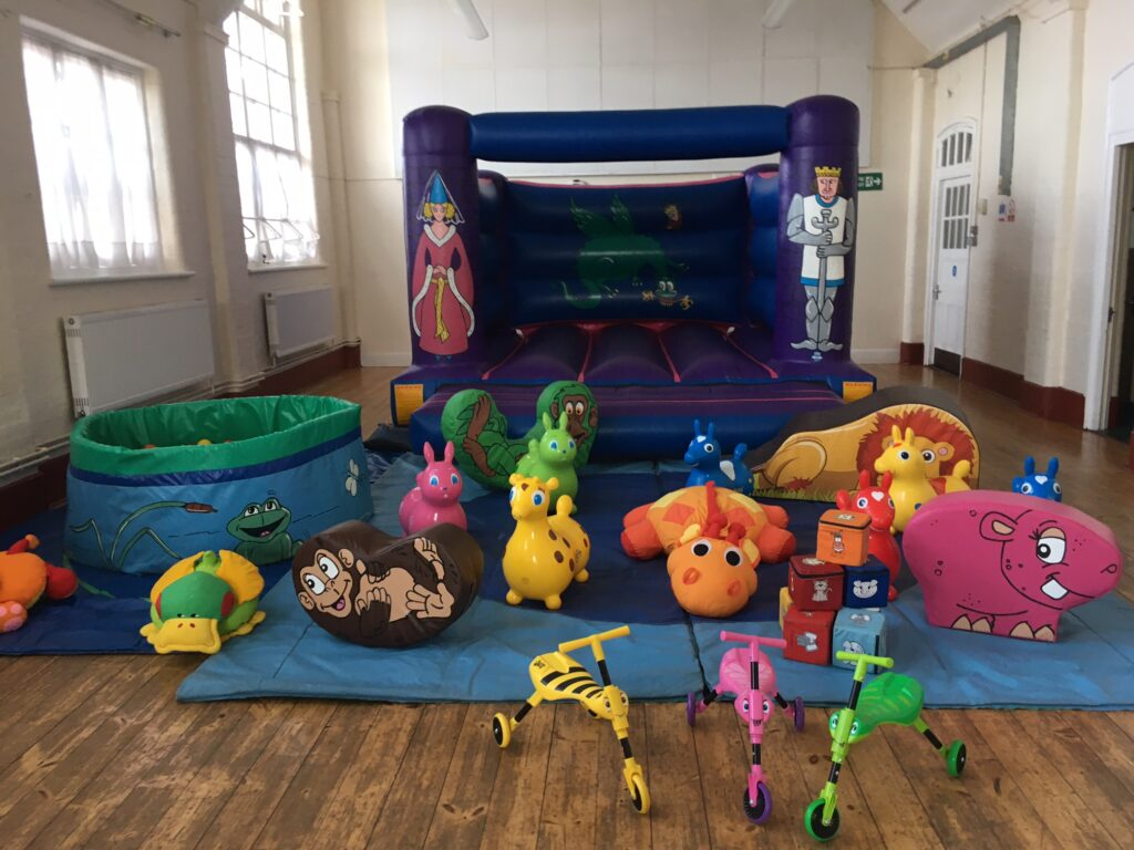 Bouncy castle, soft play and ball pool in Hilldene Centre, West End for 2nd Birthday Party